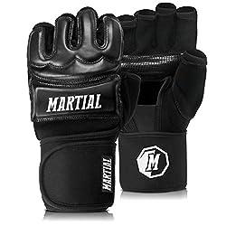 MMA Handschuhe Profi von Martial - professionelle Qualität - hochwertige Konstruktion - Boxen, Training, Sandsack, Boxsack, Freefight, Grappling, Kampfsport - Schwarz - Boxhandschuhe