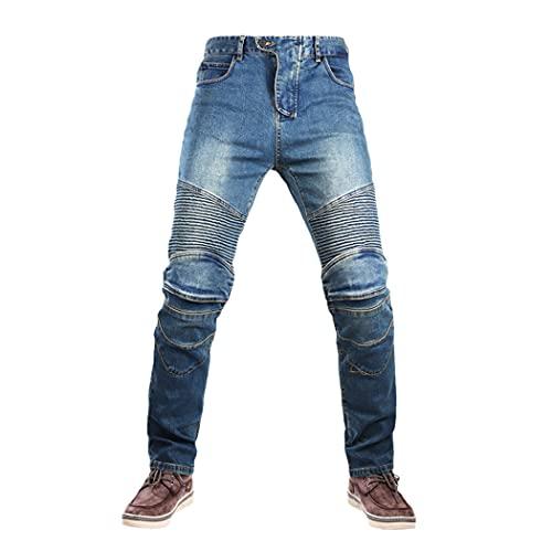 LIOPJH 4 Stagione Tempo Libero Moto Pantaloni Motocross Outdoor Equitazione Jeans Con Attrezzature Protettive Ginocchiere, Uomo, Pantaloni moto da uomo, Jeans da moto, Pantaloni moto, Con B Protect, M