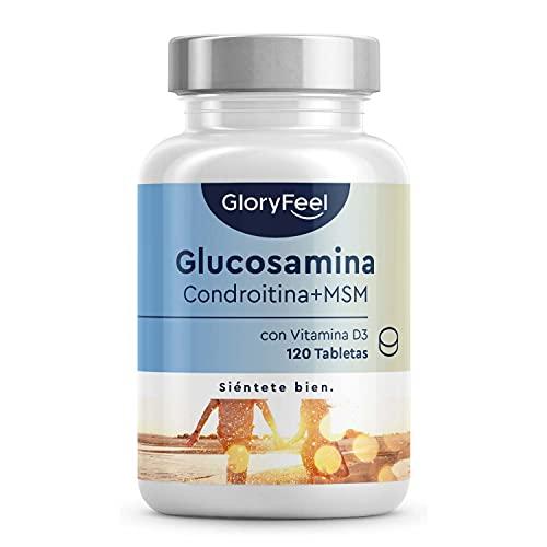 Glucosamina 1.600mg con Condroitina, MSM, Ácido hialurónico, Vitamina D3 y Calcio - Alta dosificación - Apoyo articulaciones y cartílago - 120 Comprimidos