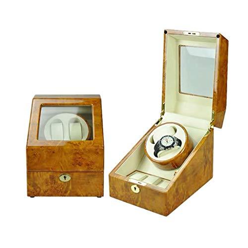 Oksmsa Rectángulo Automático Cajas Giratorias para Relojes Madera 2 + 3 Reloj Caja de Almacenaje, Mudo Motor, 5 Modo de Roaming, Antimagnético, Bateria Cargada (Color : A)