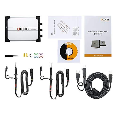 Osciloscopio para PC USB 2 canales,Owon Osciloscopios para PC portatil digitales Ancho de banda de 25MHz 100M /s Frecuencia de muestreo