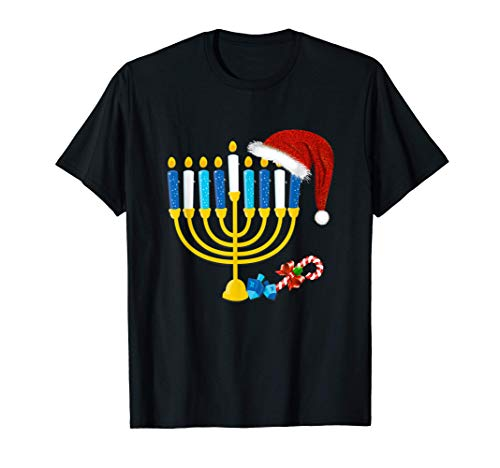 Chrismukkah Hannukah Santa Hat Family Christmas Pajama Gifts T-Shirt