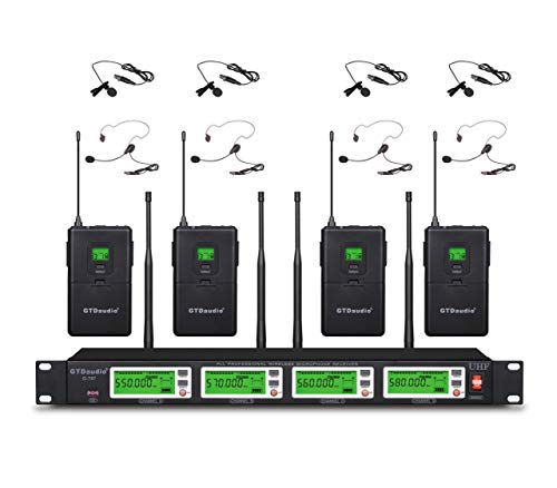 GTD Audio 4x800 Adjustable Channels UHF Diversity Wireless Cordless Lavalier/Lapel/Headset Microphone Mic System (4 Body Packs) 787L