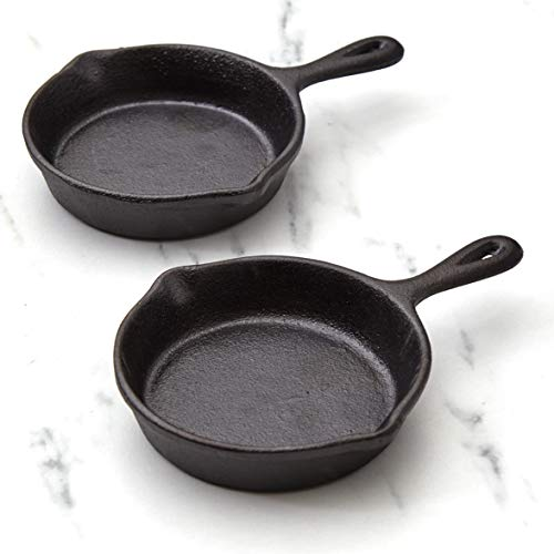Mini Cast Iron Skillets for Single Dishes and Desserts  Set of 2