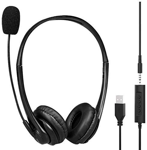 PC Headset mit Mikrofon USB/3,5mm Klinke Business Headset, Headset Handy mit Noise Cancelling & Klare Stereo Sound für Call Center, Office, Telefonkonferenzen, Skype Chat, Online Kurse und Musik