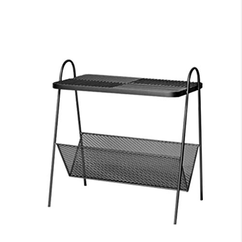 LICHUAN Side Table Nordic Sofa Small Side Table Shelf Side Wrought Iron Corner Bedroom Bedside Table End Table Easy Assembly (Color : Black)