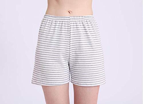 YFDYG Short Femme,Gray Stripes Breathable Beach Shorts Summer Ladies Casual High Waist Shorts Solid Color Sleep Pants Bottoms Pants Girl Street Trousers,XL