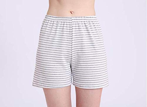 YFDYG Short Femme,Gray Stripes Breathable Beach Shorts Summer Ladies Casual High Waist Shorts Solid Color Sleep Pants Bottoms Pants Girl Street Trousers,XL