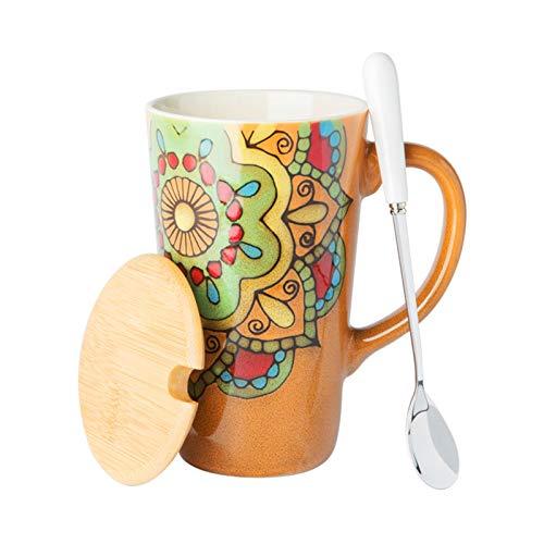 Tazas de Espresso Taza De Estilo Étnico Taza De Café Pintada A Mano Retra Gran Taza Larga Grande Capacidad De Cerámica De Gran Capacidad Taza De Consumición De La Oficina Con La Tapa De La Tapa 500ml