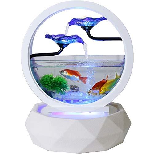 Ffshop Acquari Acquario Cilindro Creativo del Pesce Rosso di Vetro Rotondo del Salone Piccolo Acquario di Pesci del Desktop Domestico Ecologico del Desktop Multicolore