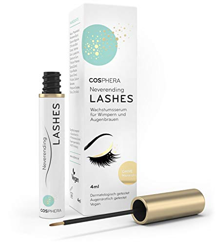 Cosphera Neverending Lashes - Wimpernserum & Augenbrauenserum - Vegan & hormonfrei - 4 ml Lash Booster Serum für lange Wimpern & kräftige Brauen - Geprüft durch dermatologischen & augenärztlichen Test