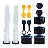 Gas Can Spout Replacement,Gas Can Nozzle,(2 Kit-White) with 4 Screw Collar Caps(2 Coarse Thread &2 Fine Thread-Fits Most of The Cans) with Gas Can Vent Caps,Thick Rubber pad,Spout Cover,Base Caps