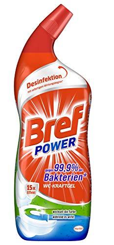 Bref Power WC KraftGel 15x Effekt gegen 99,9 Prozent der Bakterien, 750 ml, WC Reiniger extrastark für eine kraftvolle Reinigung und Desinfektion