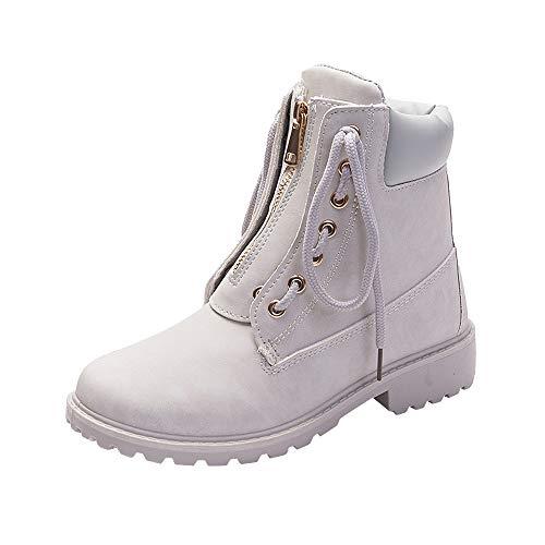 FeiBeauty Frauen Solide Lace Up Reißverschluss Lässige Stiefeletten Runde Kappe Schuhe Student...