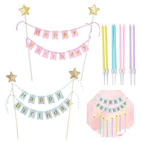 kungfu Mall 2pcs Happy Birthday Cake Bunting Topper Banner Garland Pennant Flags Party Cake Decoration with a set of rainbow candle for Kids Girls Boys Birthday Party Decoration