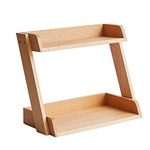 JCNFA desktop-opslagkast, houtveredelingsframe, dubbele planken voor kantoor of badkamer, beuken 12.99*7.08*11.22in wood