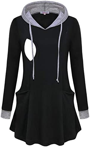 Misswor Feeding Tops for Women with Zip Womens Baby Maternity Tunics Long Sleeve Fancy V Neck product image