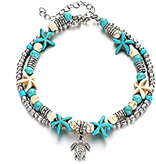 Starfish Turtle Anklets Multiple Layered Boho Gold Chain Anklet Heart Beach Rhinestones Turquoise Stone Charm Anklet for or Women Girl Anklet Jewelry