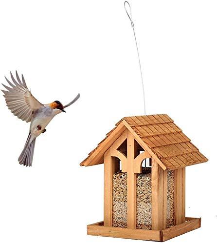 AXAA Outdoor Bird Feeder, Windproof Wooden Hanging Wild Bird Foraging Station Perch with Metal Handle Suitable for Courtyard Garden