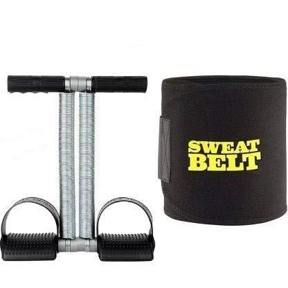 PRR-V Tummy Trimmer Ab Exerciser and Sweat Slim Belt Black