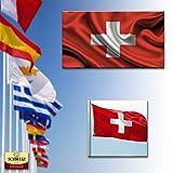 ADATECH Flagge der Schweiz 90x150 cm Schweizer Flagge Hochwertiges helles Polyester