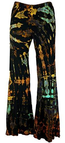 GURU SHOP Batik Leggings mit Schlag, Schlaghose, Damen, Schwarz, Synthetisch, Size:40, Shorts, Leggings Alternative Bekleidung
