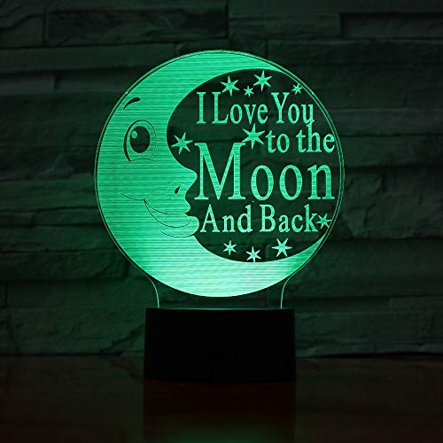PLIHD 3D Lamp Led Night Light, Cartoon Cute Moon Illusion Lamp 16 Color Change Decor Lamp -3D Illusion Lamp for Bedroom Beside Table Decoration, for Kids and Room Room Decor