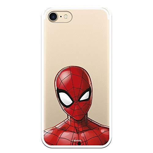 Funda para iPhone 7 - iPhone 8 - iPhone SE 2020 Oficial de Marvel Spiderman Silueta Transparente para Proteger tu móvil. Carcasa para Apple de Silicona Flexible con Licencia Oficial de Marvel.