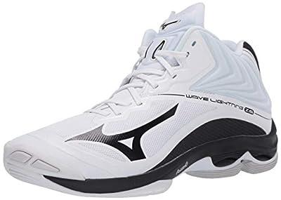 Mizuno Wave Lightning Z6 Mid Mens Volleyball Shoe, White/Black, 7