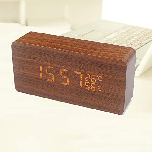 MYYXGS Kleine Uhr Mini Wecker Led Nacht Kleine Wecker Holz Uhr Sound Aktiviert Kleine Wecker Hause Wohnzimmer Schlafzimmer Dekoration