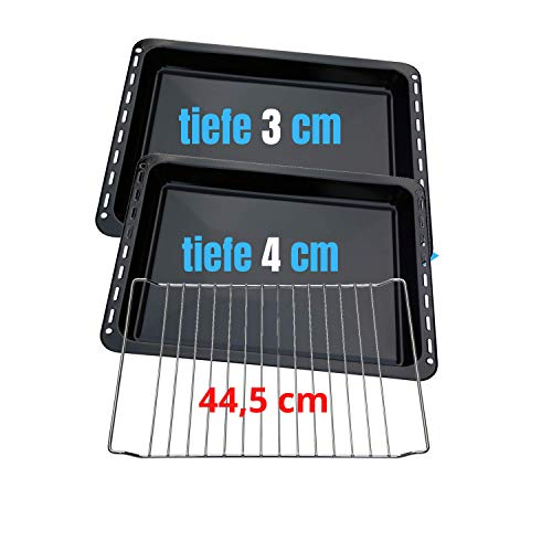 UNIQ DEALZ 445 x 375 x 30 mm und 40mm 3er Set mit 2 Backbleche 2 Tiefe emailliert und 1 Backrost 445x340x25 mm passend für Bauknecht Whirlpool Ignis IKEA auch Neckermann Lloyds Quelle Privileg Matura