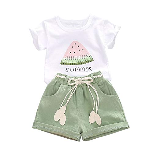CM C&M WODRO Baby Toddler Girls Summer Shorts Sets Kids Watermelon Letter Print Tops Shorts Outfits Clothes for 1-4 Years Old (Green, 12-18 Months(80))