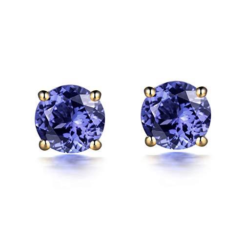 ANAZOZ Pendientes Mujer Tanzanita,Pendientes Mujer Oro Amarillo 18K Oro Púrpura Azul Redondo Tanzanita Púrpura Azul 1ct