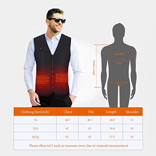 AIPER Heated Vest with 10000mAh Battery Electric Body Warmer Heating Pad for Men and Women Hiking Hunting Motorcycle Riding Golf Camping(2 Sizes Smaller Than US Size)