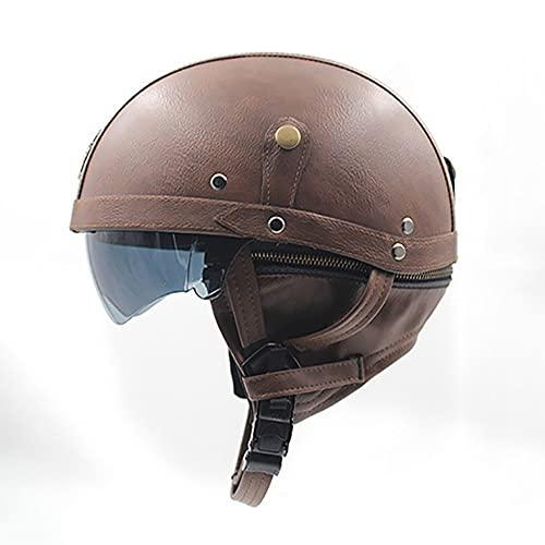 Letetexi Casco de Moto Abierto, ECE Homologado, Retro Jet Casco con Visera Adults Unisex para Bike Cruiser Chopper Moped Scooter (57~62CM)