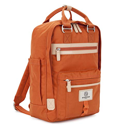 "SEVENTEEN LONDON – Modern Urban Unisex Orange 'Wimbledon' Backpack in a Classic Slim Simple Design – Fits Laptop up to 13"""