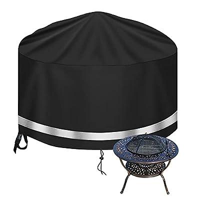 Raweao Patio Firepit Cover Waterproof Fire Pit Bowl Cover for Fire Pit Round, Heavy Duty 600D Outdoor Garden Gas Fire Pit Covers for Barbecue Grill Cover, Black (Ø80 x 40cm) from wen tao shi ji (shen zhen) ke ji you xian gong si