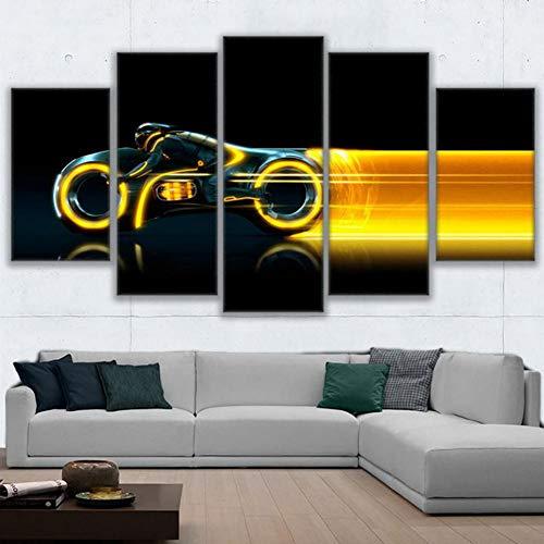 SLFWCLH 5 lienzos 5 Panel Abstracto Modular Motocicleta Imagen Lienzo Pared Arte Pintura decoración del…