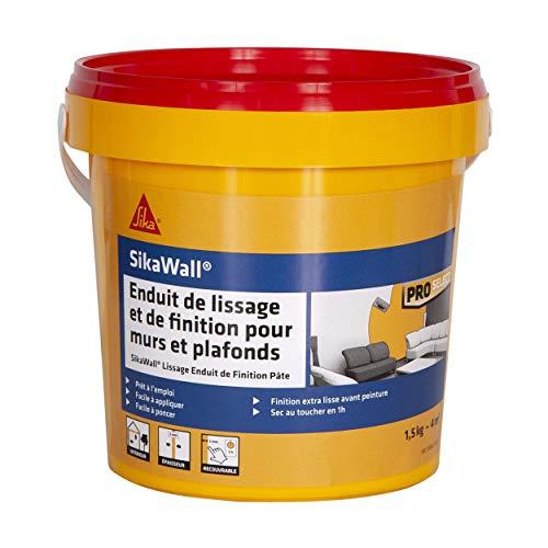 SikaWall Enduit de Lissage et de Finition murs et plafonds prêt à lemploi en pâte, facile à poncer, Blanc, 1,5kg ~ 4m²