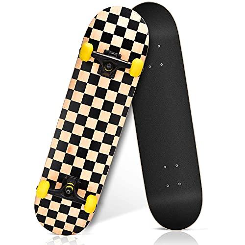 Skateboard completo per bambini, ragazzi e adulti, principianti, Double Kick Maple Deck Concave Cruiser con strumento a T, (Golden Clamp)