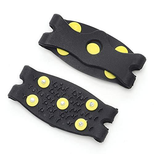 QKFON 1 par de tacos de hielo de 5 dientes para escalada de hielo y nieve antideslizantes con pinchos de agarre de crampón, para zapatos de resorte, garra de crampón