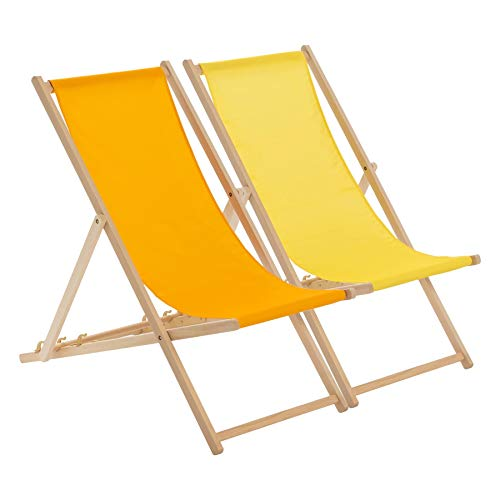Harbour Housewares Transats Traditionnels - Ajustable - Plage/Jardin - Orange/Jaune