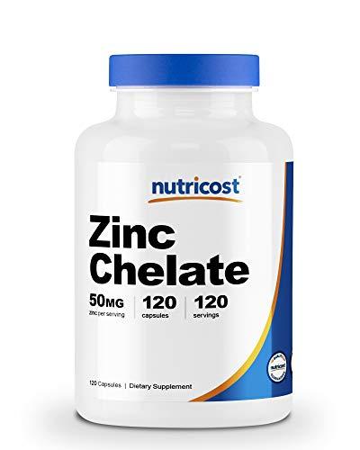 Nutricost Zinc Chelate 50mg, 120 Vegetarian Capsules - Gluten Free and Non-GMO