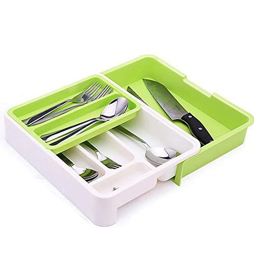 3-In-1Organisateur Tiroir Cuisine Extensible Baguettes Cuillère Organisateur Porte Couvert En Plastique Pour Tiroirs De Stockage Diviseur Boîte,Green+white