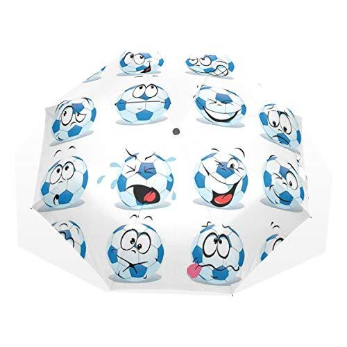 LASINSU Regenschirm,Cartoon Fußball mit vielen Ausdrücken Happy Smiley Face,Faltbar Kompakt Sonnenschirm UV Schutz Winddicht Regenschirm