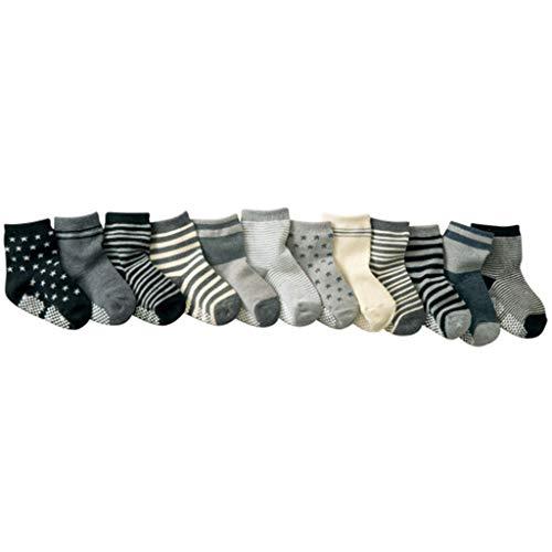 Manyo. 12 pares de calcetines para bebé antideslizantes,...