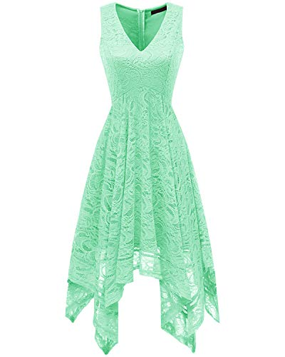 bridesmay Damen Sexy übergröße Spitzenkleid unregelmäßig Cocktailkleid Zipfel Kleid Sommerkleider Mint S