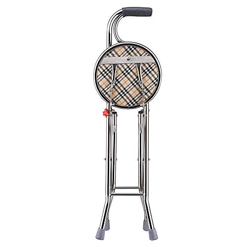 Ampersand Shops Senior Care Portable Medical 2-in-1 Walking Cane / Stool Chair Seat Folding Stick for Travel Hiking 242-lb. Weight Capacity