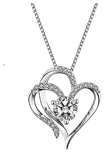 Moulding Collar de Plata del Collar de Moda del Colgante del corazón de Las Mujeres Exquisita Princesa Corte cúbico Diamante Collar Verdadero Amor confesión joyería