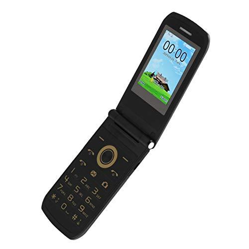 E7 100‑240V Mini Teléono Negro con Tapa para Mayores, 32MB+32MB Doble Tarjetas Doble Modo de Espera Teléfono Móvil con 2,4 Pulgadas HD Pantalla a Color, 3800 mAh Betería de Gran Capacidad(negro)